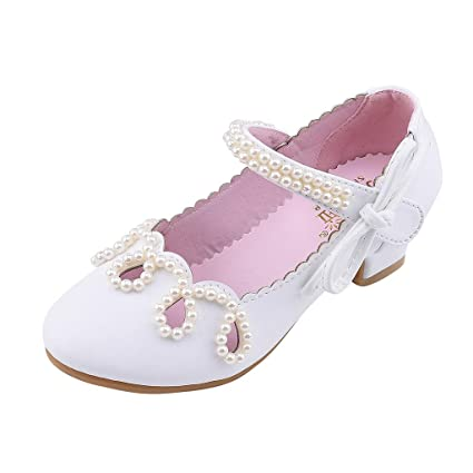 5681f7fb42004 Amazon.com: Little Girls Princess Shoes with Pearl Leather Low Block ...