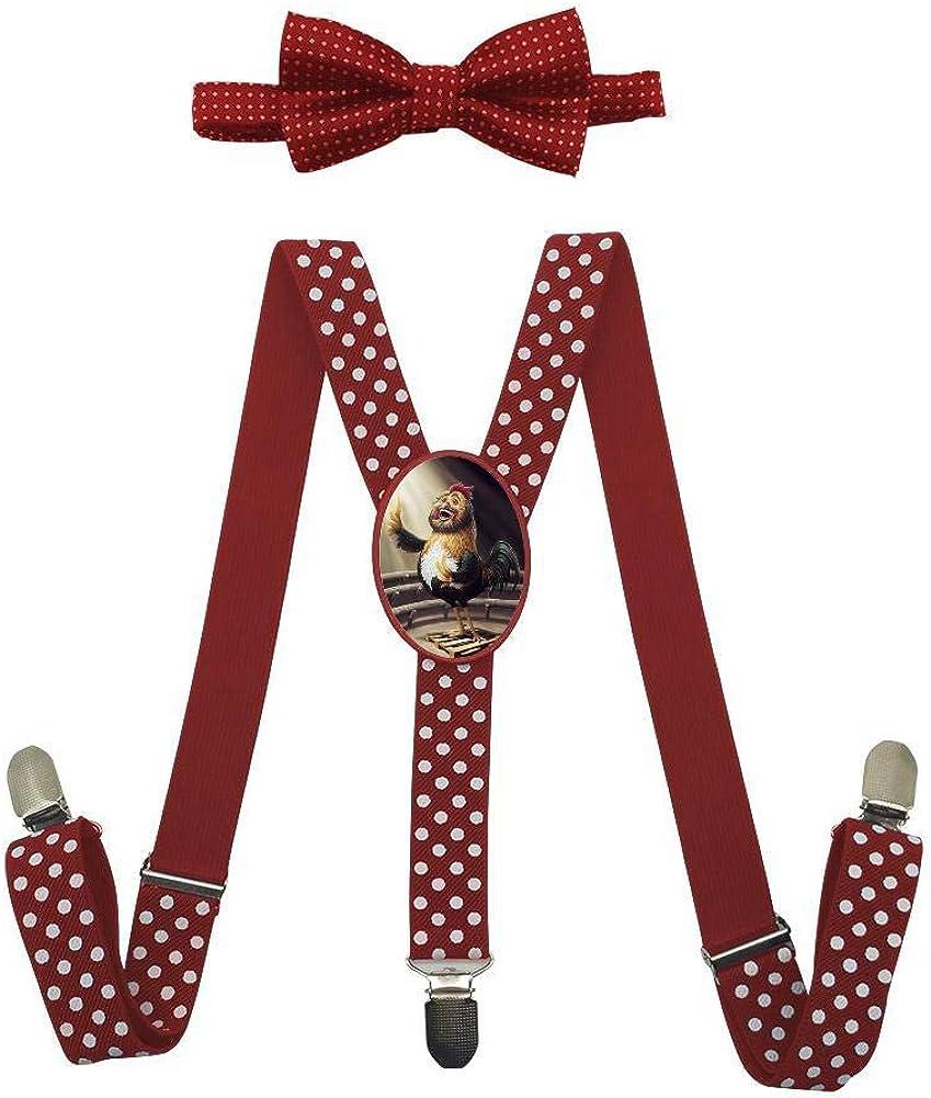 Qujki Funny Chicken Suspenders Bowtie Set-Adjustable Length