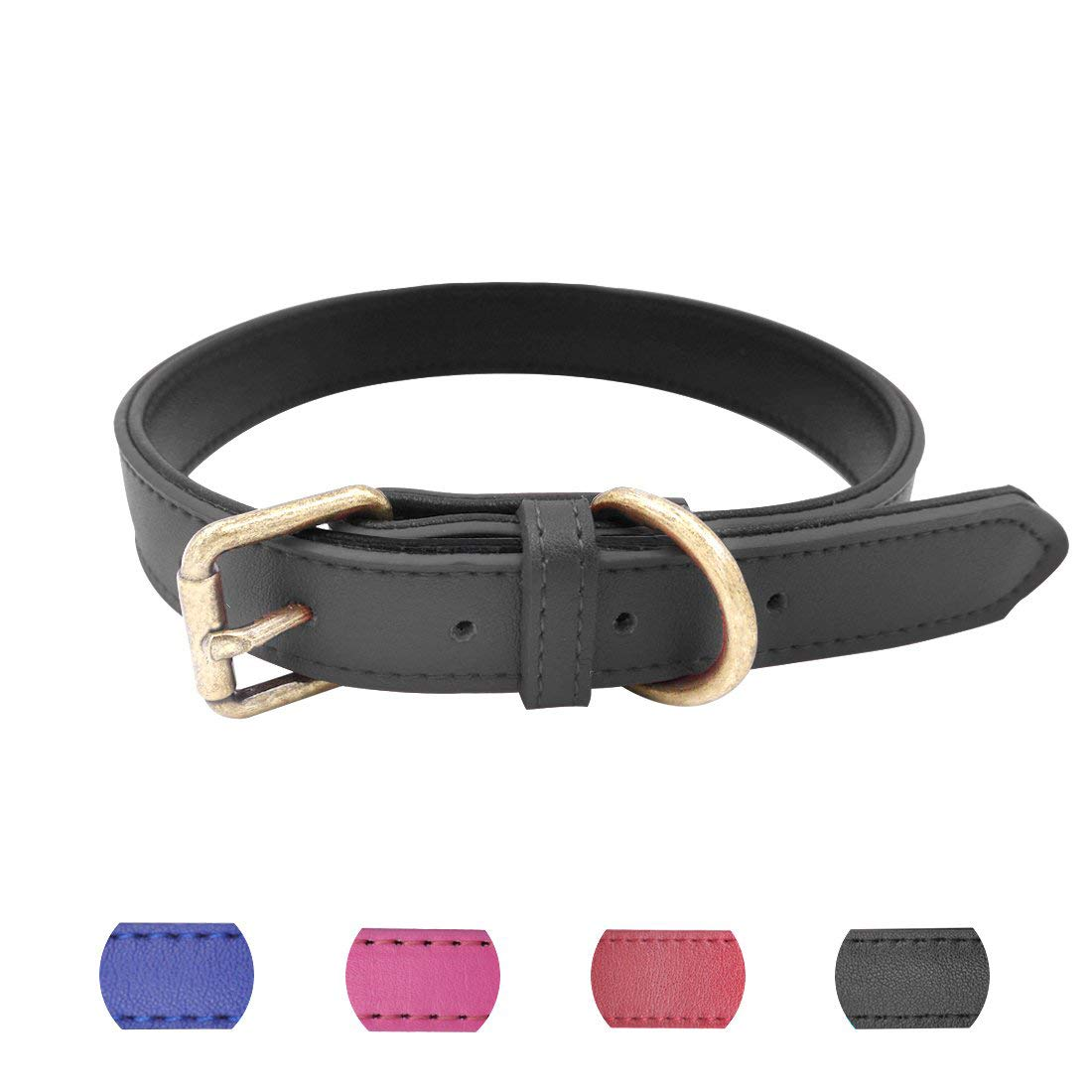 Black Small (Neck 10\ Black Small (Neck 10\ azuza Leather Dog Collar, Basic Padded Leather Pet Collars Spiked & Bones Studded Dog Collars & for Puppy Small Medium Large Dog Pink, bluee, Black, Red
