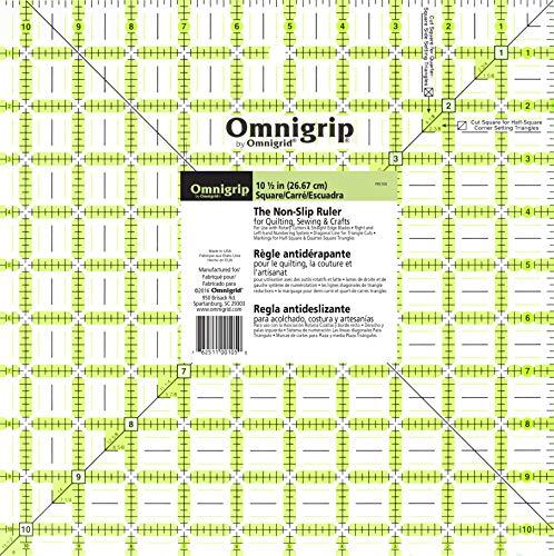 Omnigrip RN105 Non-Slip Quilter's Ruler, 10-1/2 x 10-1/2-Inch ()