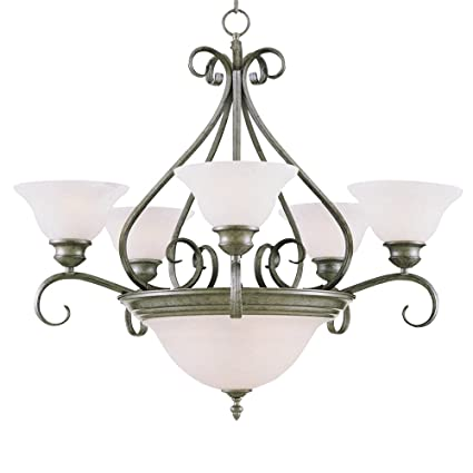 outlet store 79135 f7556 Maxim Lighting 2656MRPE Seven Light Marble Glass Up Chandelier, Pewter