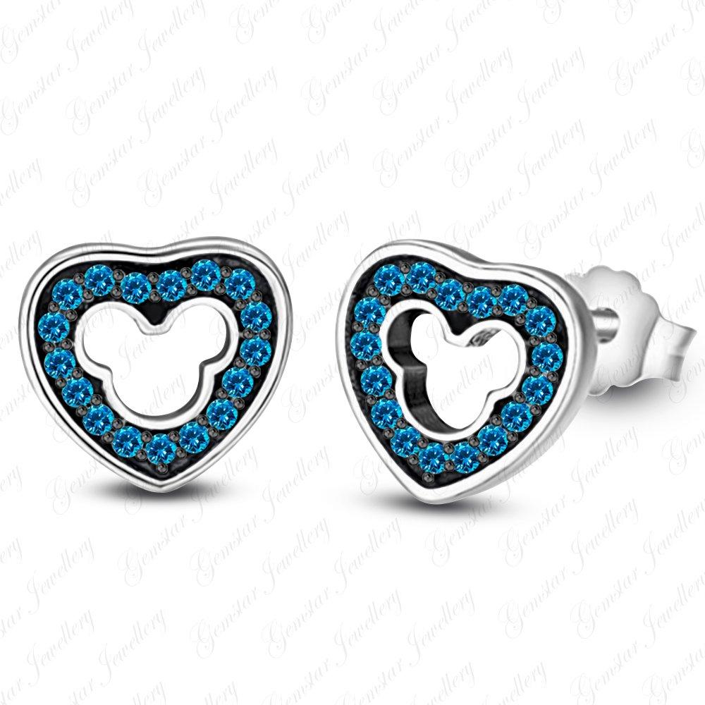 Gemstar Jewellery 18k Black Gold Finish Brilliant Round Cut Red Garnet Disney Mickey Mouse Heart Earrings