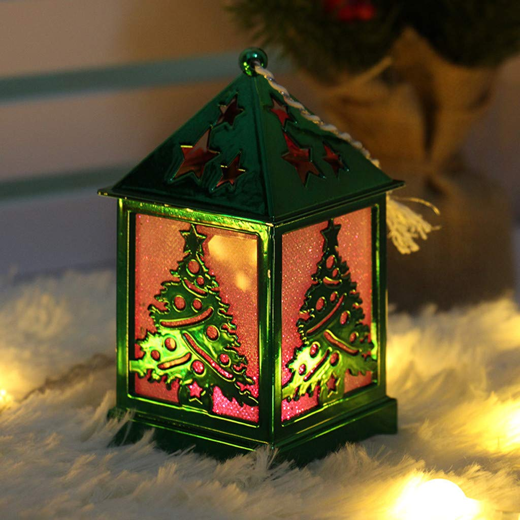 Longay LED Light Dolls House Villa Christmas Ornaments Xmas Tree Hanging Decor (Green)