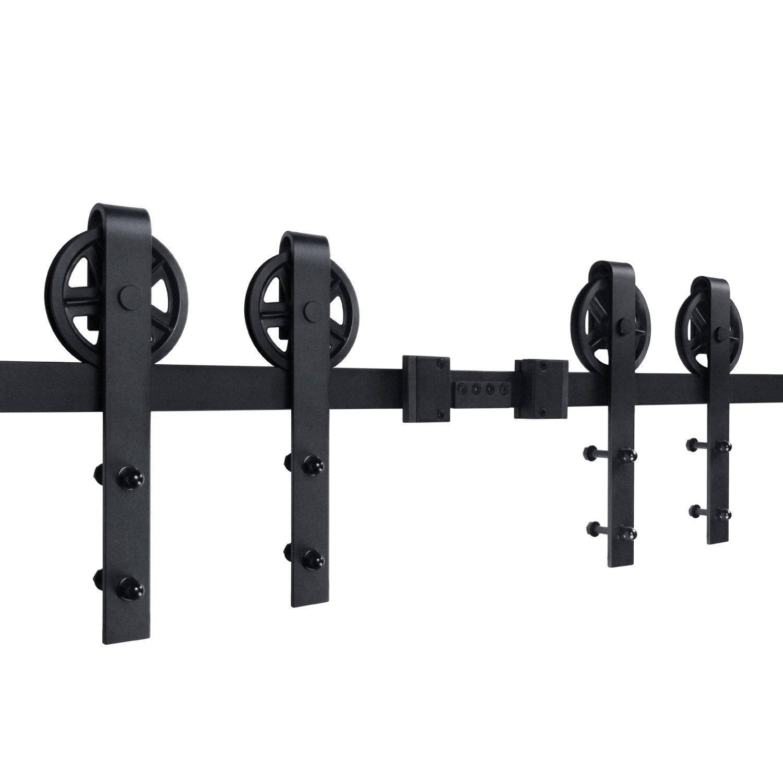 SMARTSTANDARD 13ft Bigwheel Double door Sliding Barn Door Hardware (Black) (Big Industrial Wheel Hangers) (2 x6.66 foot Rail)