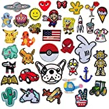 SIX VANKA 36pcs Assorted Size Iron On Cartoon Embroidered Motif Applique Decoration Patches DIY Sew on Patch for Jeans Clothing Denim Jeans Jacket Handbag Shoes (Embroidery Appliques Patches Set)