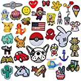 SIX VANKA 36pcs Assorted Color Iron On Cartoon Embroidered Motif Applique Decoration Patches DIY Sew on Patch for Jeans Clothing Denim Jeans Jacket Handbag Shoes (Embroidery Appliques Patches Set)