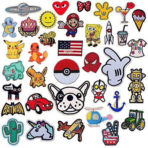 SIX VANKA 36pcs Assorted Size Iron On Cartoon Embroidered Motif Applique Decoration Patches DIY Sew on Patch for Jeans Clothing Denim Jeans Jacket Handbag Shoes (Embroidery Appliques Patches Set) (Hottest Cartoon Girl)