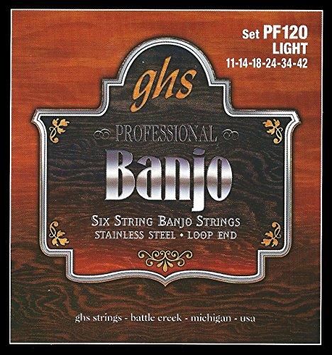 GHS PF120 6-String Banjo Loop End Strings - Light