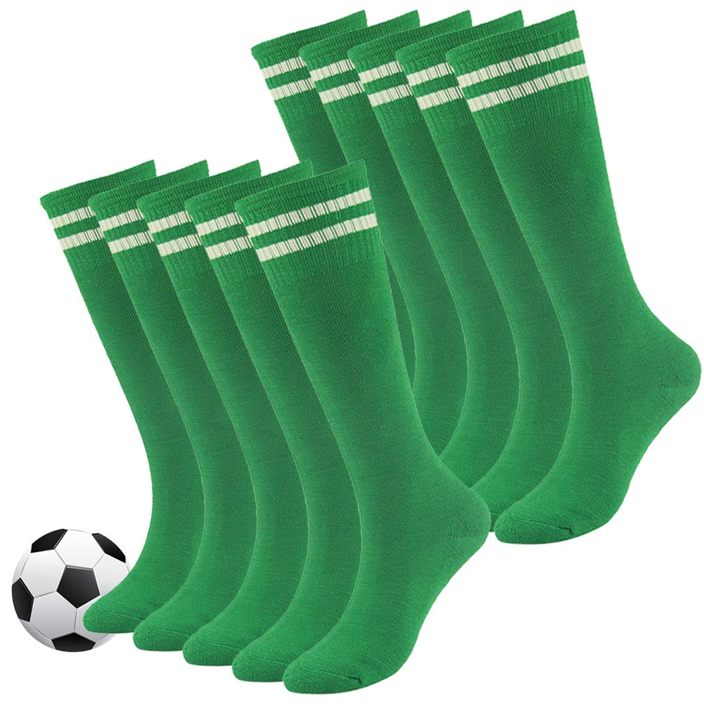 Youth Soccer Socks,Fasoar Boys and Girls Soft Elastic Knee High School Team Sports Long Tube Socks 10 Pack Green by Fasoar