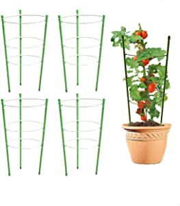 LOUYC 4 Pack Plant Support Cage Adjustable Plant Trellises Garden Basket Plant Fixed Climbing Plant Support Ring