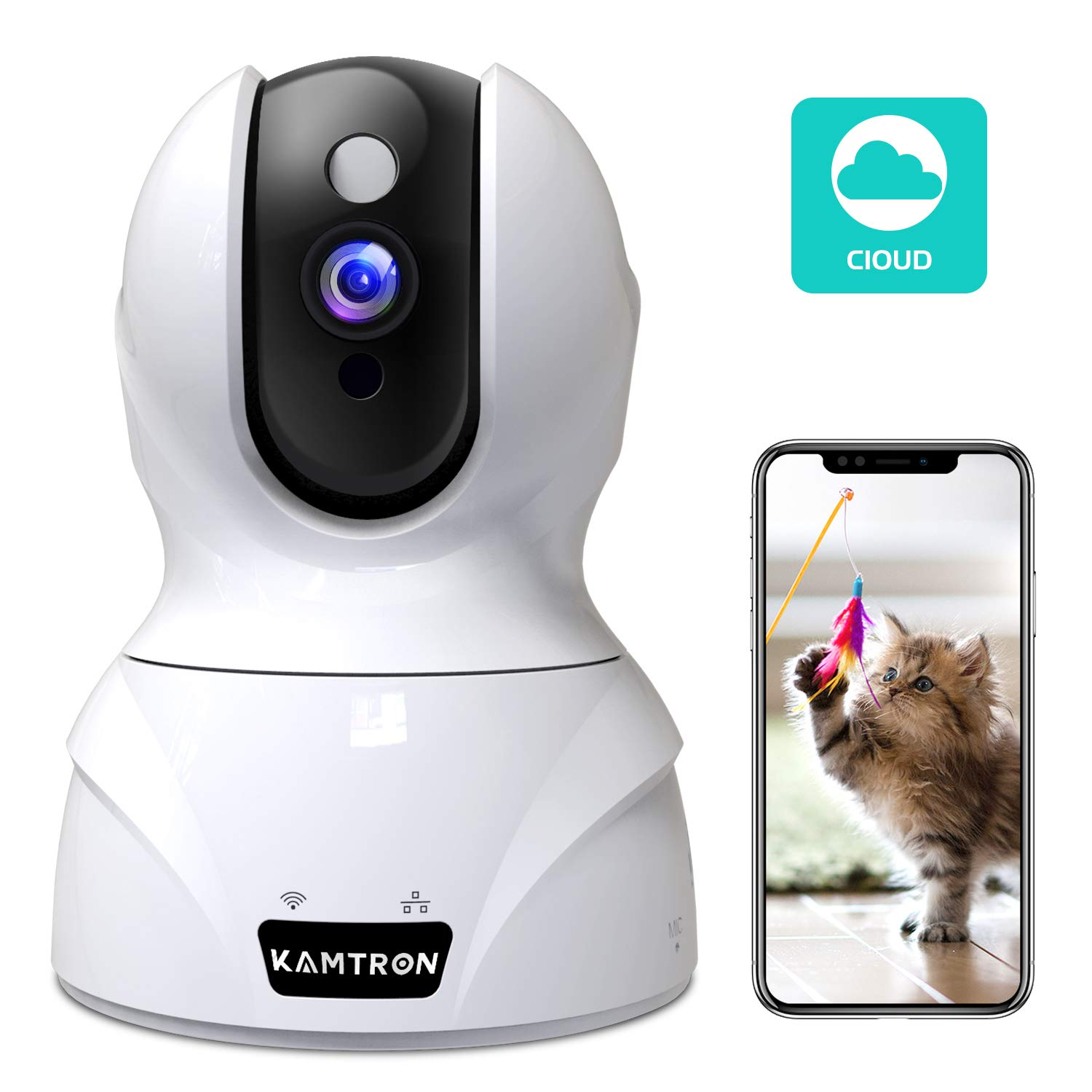 Wireless Security Camera,KAMTRON HD WiFi Security Surveillance IP Camera Home Monitor with Motion Detection Two-Way Audio Night Vision,White by KAMTRON