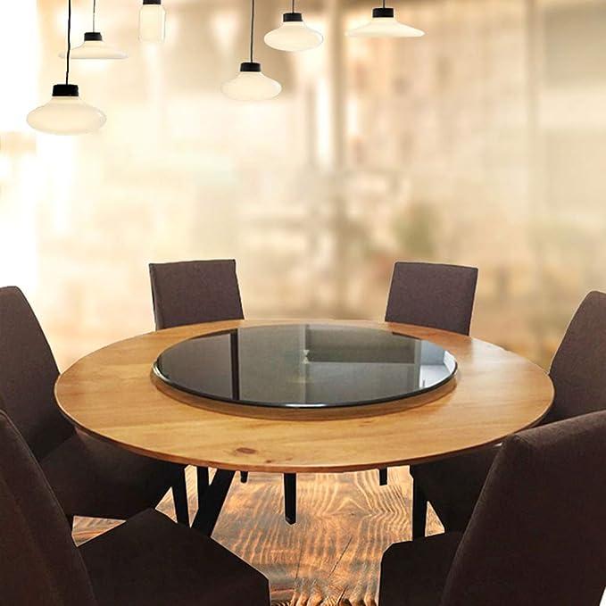 DIOE Mesa de comedor marrón de vidrio templado Lazy Susan ...