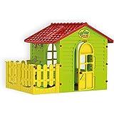 Mochtoys 5907442108392 Spielhaus für drinnen und draußen mit Zaun, Gartenhaus Kind