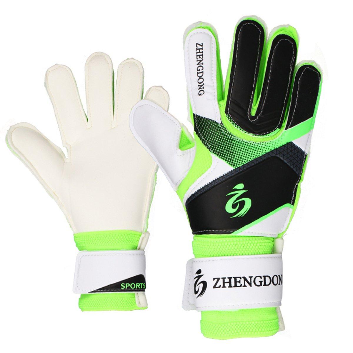 Youth Goalie Gloves ( # 8 # 9 )初心者用Goalies、指を保護、安全、快適、柔らかさと耐久性のすべての種類の天気 B07BGCMHLYグリーン 8