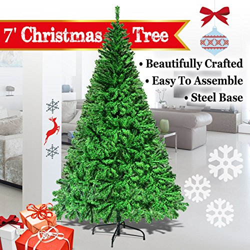 Fir Unlit Artificial Christmas Tree (BenefitUSA 5' 6' 7' 7.5' Classic Pine Christmas Tree Artificial Realistic Natural Branches-Unlit With Metal Stand (7', Green))