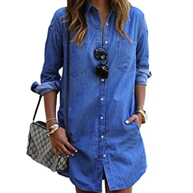 a0d6c013 LISASTOR Womens Vintage Style Denim Top Long Sleeve Pocket Blue Jeans Blouse (S)