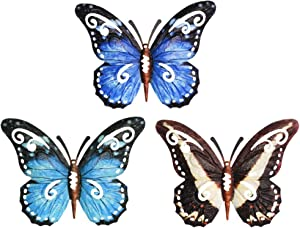 MYJAQI 3 Pack 3D Metal Butterfly Decor, Inspirational Wall Decor Sculpture Hanging Indoor Outdoor for Home, Bedroom, Living Room, Office, Garden (9.5 inch* 7.5 inch)