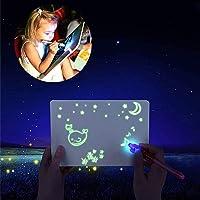 bestbeans Licht magie schilderbord + uv-lamp + geheime pen - pedagogisch oplichtend tekenbord in het donker lichten…