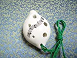 6 Holes White Glaze Ceramic Ocarina W/music Notes Soprano C Key - Green Strap - Dexterous, Great Gift, Easy to Carry and Learn. Linn's Arts!