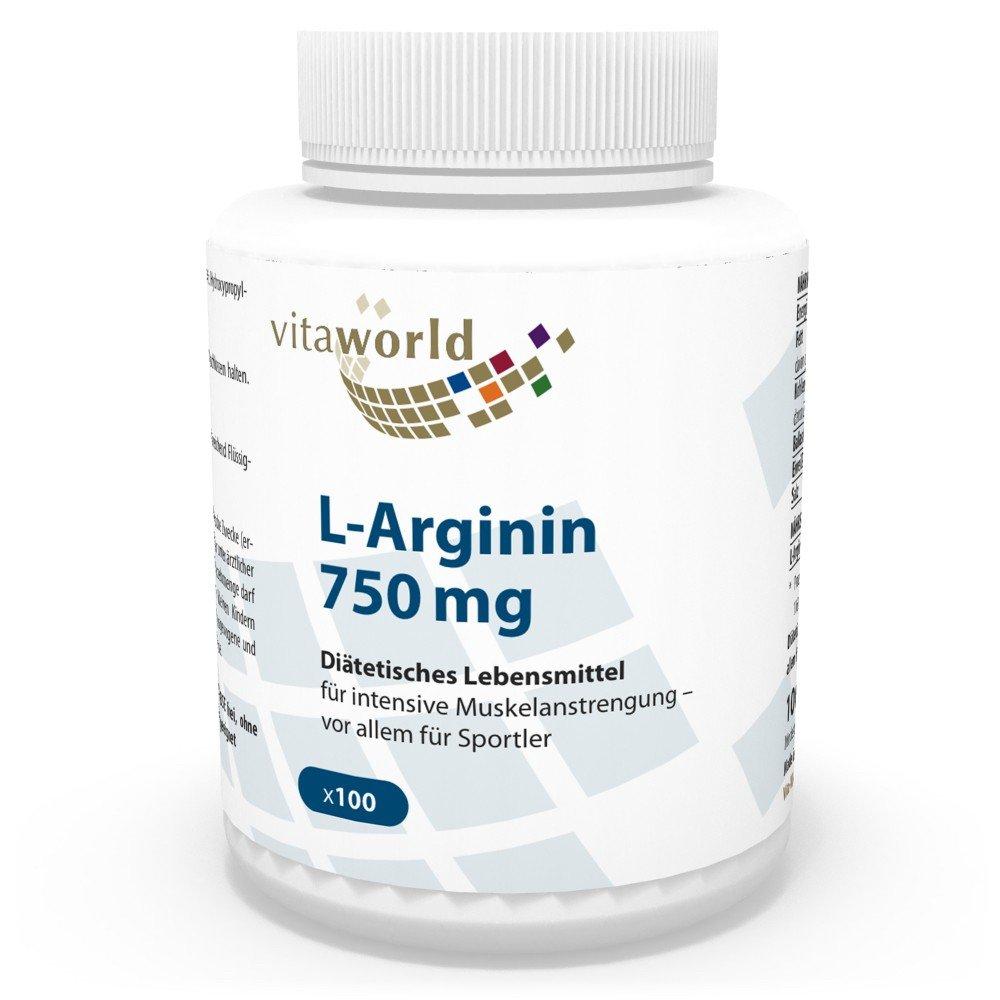 L-Arginina 750mg 100 Cápsulas Vita World Farmacia Alemania Aminoácidos Escenciales Musculación: Amazon.es: Salud y cuidado personal