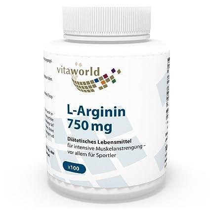 L-Arginina 750mg 100 Cápsulas Vita World Farmacia Alemania Aminoácidos Escenciales Musculación