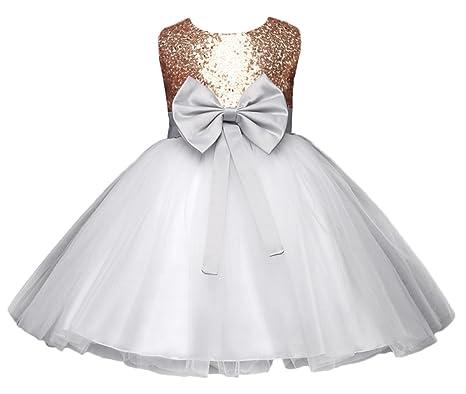 ee3cfed2c6865 Y-BOA Robe Princesse Demoiselle Baptême Mariage Enfant Fille Robe Tutu Nœud  Size1
