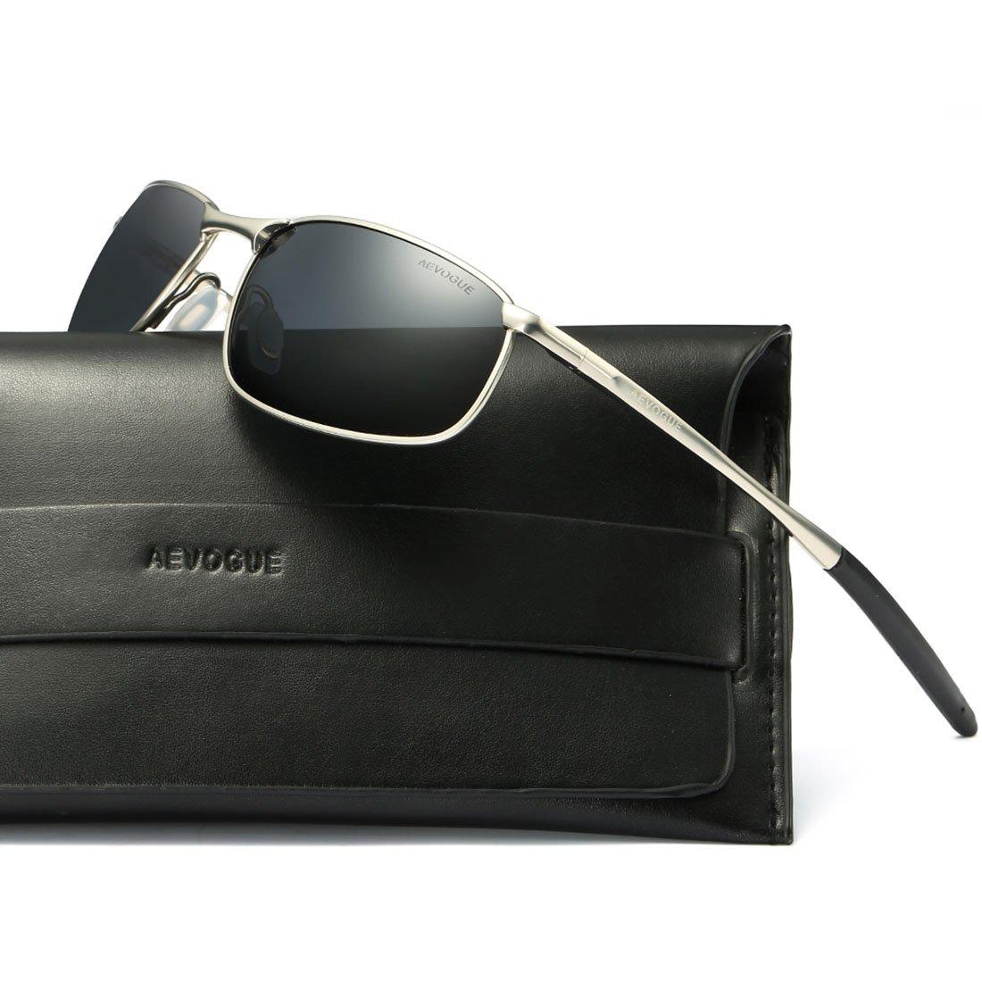 2884c806228 AEVOGUE Polarized Sunglasses For Men Rectangle Metal Frame Retro Sun Glasses