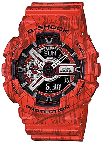 Casio G-Shock Black Dial Red Resin Quartz Male Watch GA110SL-4ACR by Casio