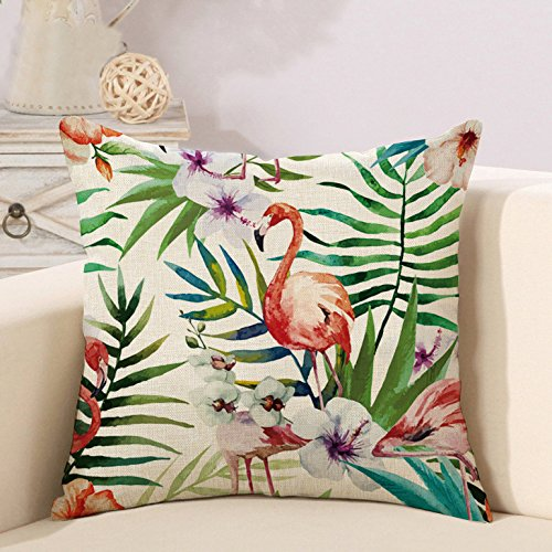 18' Tropical Decor (Throw Pillow Covers Cases Decor Square Cushion Covers Home Decorative Tropical Flower Leaves Flamingo 18 x 18 inch (1))