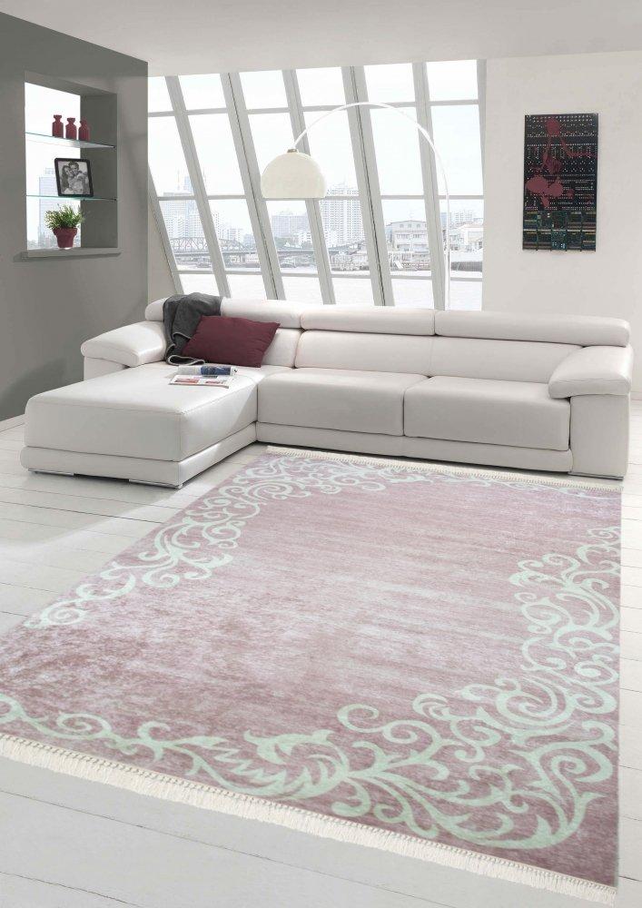 Merinos Teppich Floral Designerteppich Wohnzimmerteppich waschbar in Rosa Creme Größe 140x200 cm Oval
