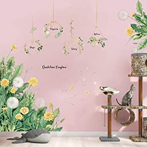Supzone Garden Flowers Wall Stickers Green Leaves Dandelion Wall Decals Garland Wall Decor Vinyl Wall Art Sticker for Bedroom Living Room Sofa Backdrop TV Wall Decoration