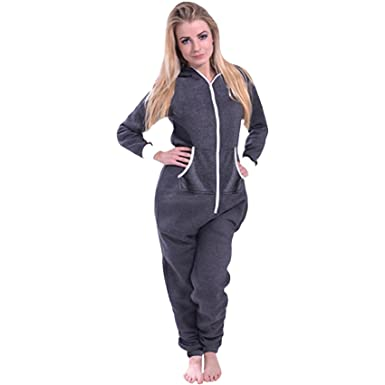 f02fcf81e78 Sa Fashions® Ladies All in One Onesie New Hooded Zip UP Romper Jumpsuit  Playsuit UK Pyjama Tracksuit Plus Sizes 8-22  Amazon.co.uk  Clothing