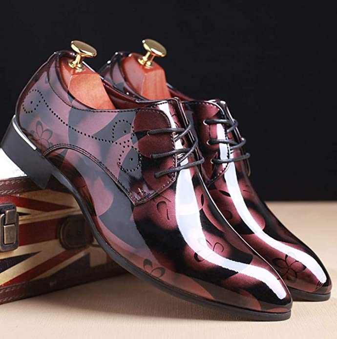 68b3297a378d0 Mens Fashion Floral Patent Derby Shoes Lace Up Formal Business Shoes  Pointed Toe Shiny Flat Faux Leather Dress Shoes