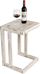 MyGift Under-The-Couch Shabby Chic Whitewashed Wood Accent Sofa Table