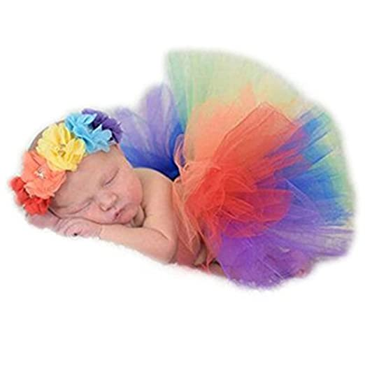 59a78d57c Amazon.com: Newborn Baby Photography Props Rainbow Tutu Dress Photography Shoot  Outfits Costume for Girls: Clothing