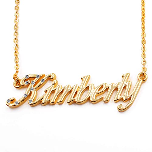 a58453947e527 Zacria Name Necklace Kimberly - 18K Yellow Gold Plated