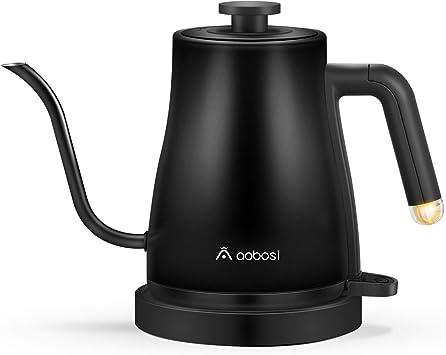 Aobosi Hervidor eléctrico de cuello de cisne,hervidor de café con tapa interior y fondo de acer...
