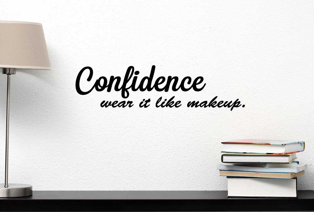 Amazon com confidence wear it like makeup inspirational vinyl wall decal decor quotes sayings motivational wall lettering art home kitchen