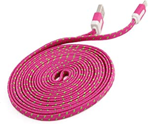 C&C Flat Nylon Braided USB Data Sync Charger Cable for iPhone 6, 6 Plus, 5, 5s, 5c, iPad 3,4, iPad Mini, air 2,3, Touch 5, Nano 7 (10FT HOT Pink)