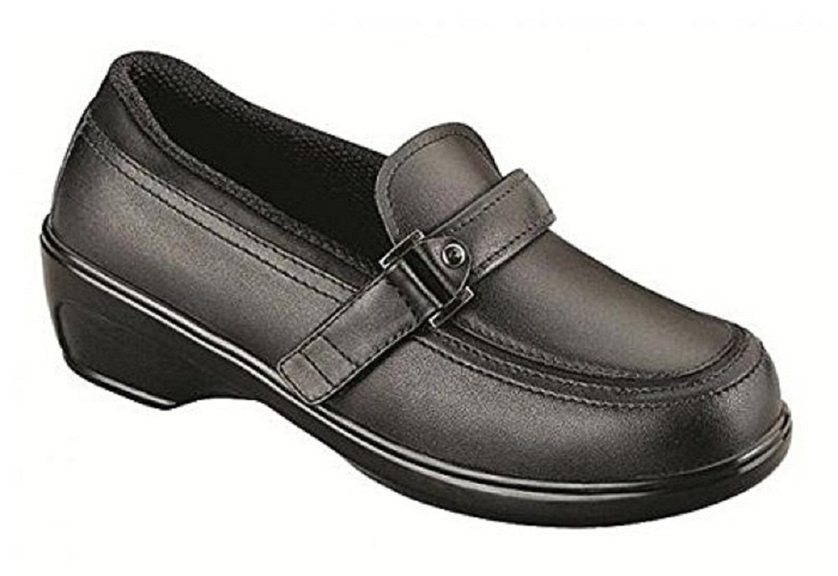 Orthofeet Prospect Park Women's Easy Slip-On 2-Way-Strap Black Leather 8 M Us