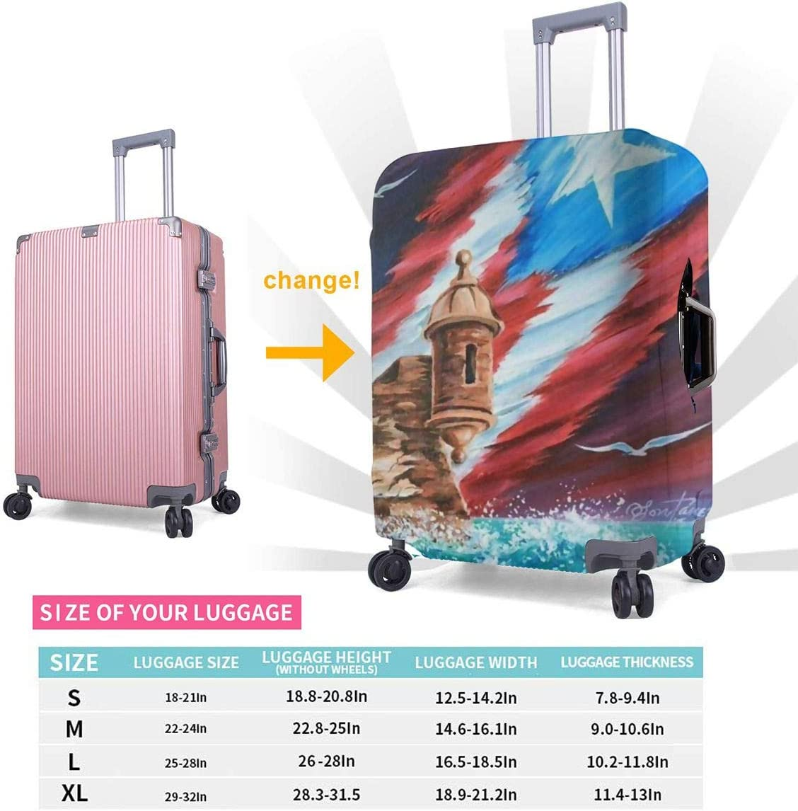 Puerto Rico Flag Printed Business Luggage Protector Travel Baggage Suitcase Cover 4 Size