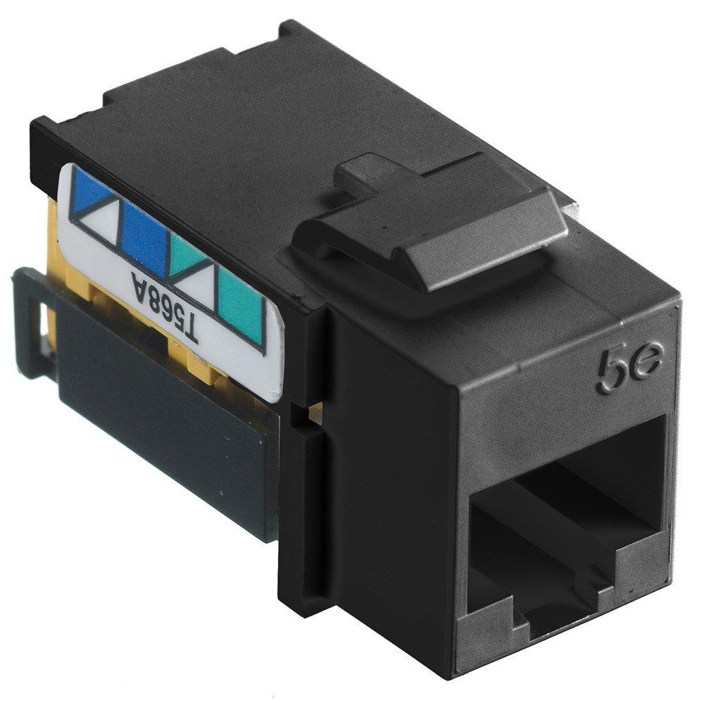 Bryant Electric NSJ5EBK Netselect Cat-5E Jack, Modular Snap-Fit, 8 Position, Universal, A/B, Black