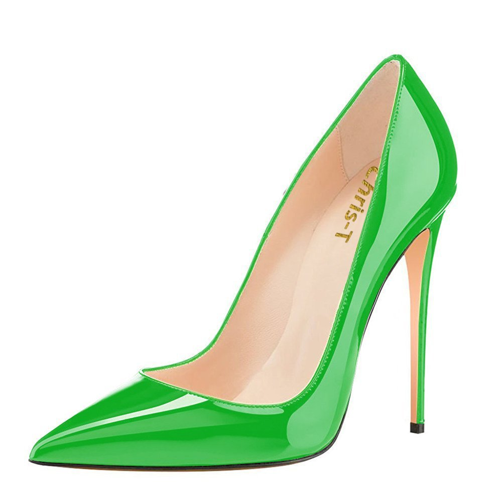 Chris-T Womens Formal Pointed Toe Pumps Basic Shoes High Heel Stilettos Sexy Slip On Dress Shoes Size 4-15 US B07F2Y3SF9 13 B(M) US|Green/Red S1le(bottom)
