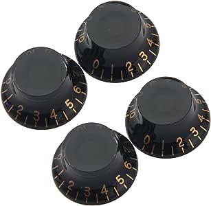 Kmise MI0156H4 4-Piece Black ABS Top Hat Guitar Speed Bell Knob Volume Tone Control Knob 6mm