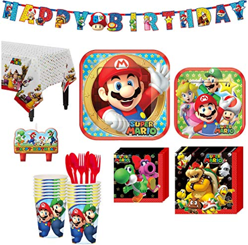 (Super Mario Birthday Party Kit, Includes Happy Birthday Banner and Birthday Candles, Serves 16, by Party)
