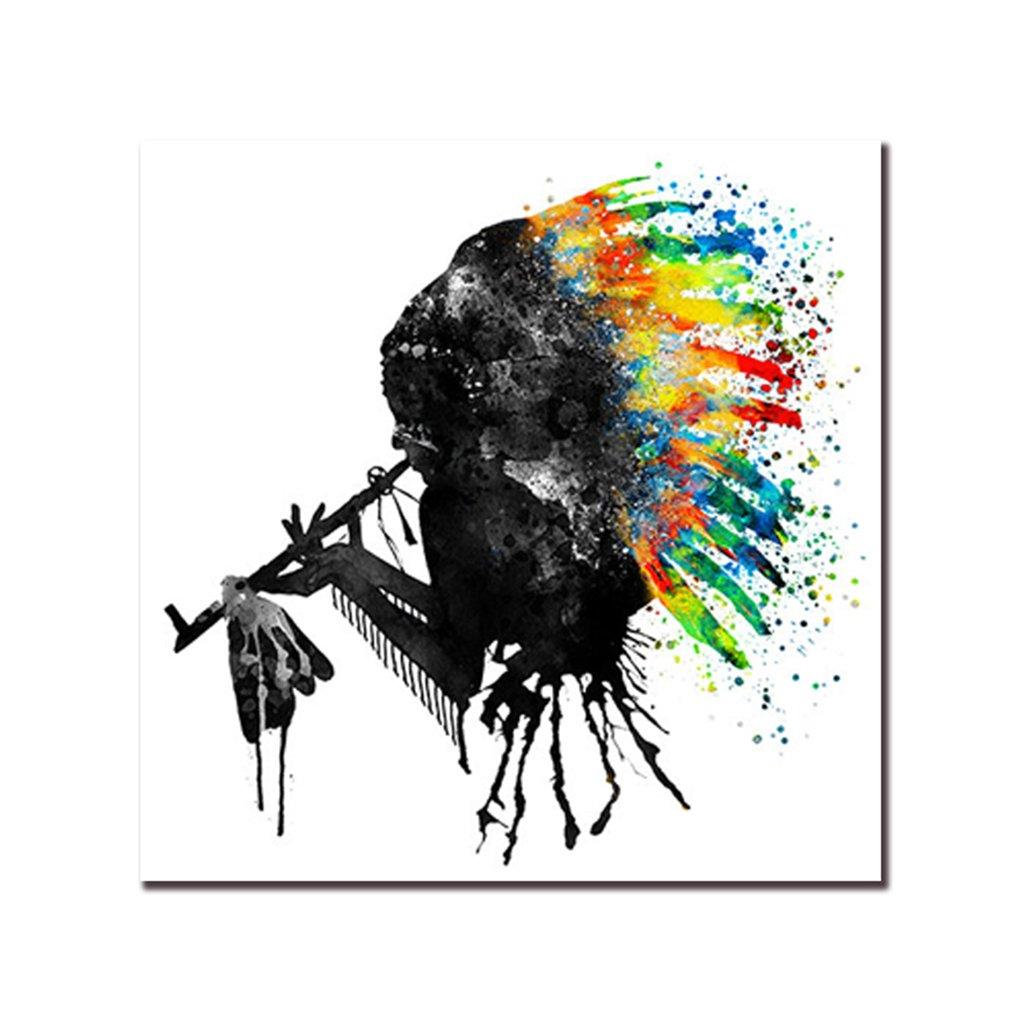 lidahaotin Silhouette noire coloré Coiffe Peinture à l'huile chef mur de toile indienne Photos Unframed Oeuvre d'art Affiches d'huile Chambre 30x30cm