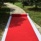 HUAHOO Aisle Runners Wedding Accessories 2mm Red Aisle Runner Carpet Rugs For Step and Repeat display, Ceremony Parties and Events Indoor or Outdoor Decoration 24 Inch wide x 50 feet long
