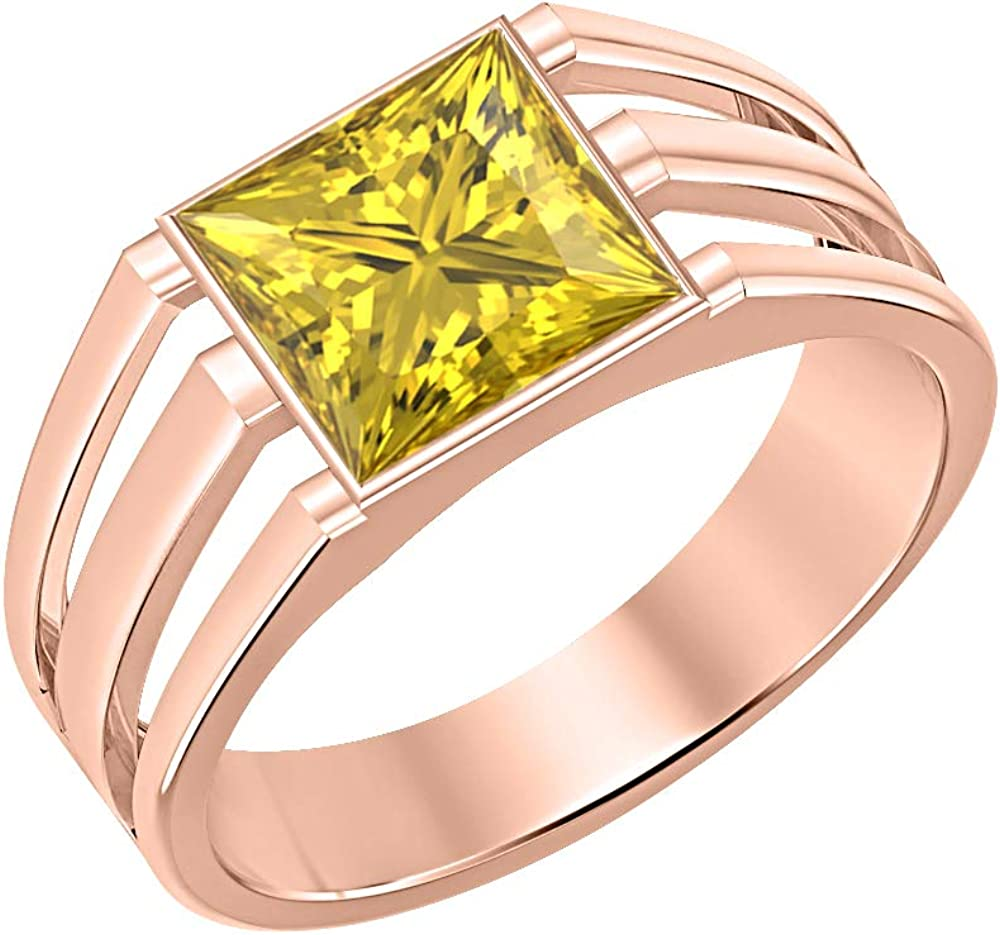 tusakha 14K Rose Gold Over 925 Sterling Silver Solitaire Princess Cut Yellow Sapphire Mens Wedding Band Engagement Ring