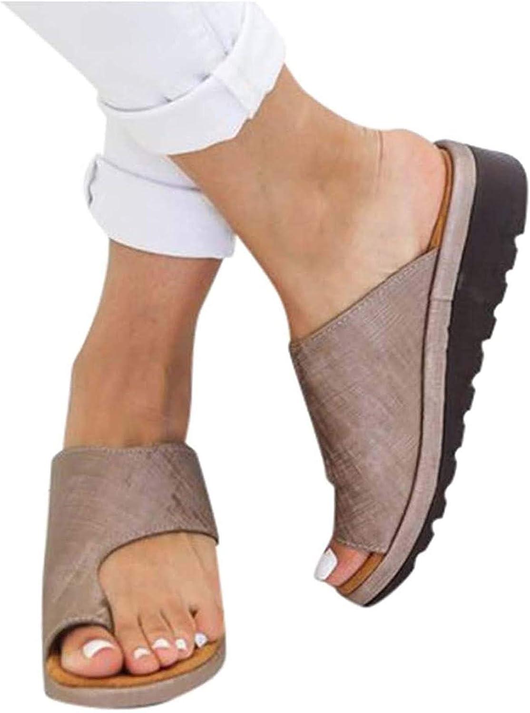 Sandalias Planas Cómodas para Mujer Zapatos Ortopédicos de Verano Sandalias de Corrección de Pie con Dedo Gordo Corrector de Juanetes Ortopédico Zapatillas de Viaje de Playa,Marrón,34