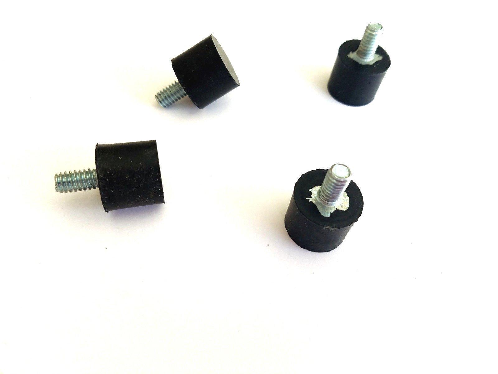 Lot of (4) Rubber Anti - Vibration Isolator Mounts Rubber Height 5/8'' x 3/4'' Rubber Diameter - Stud 1/4-20 x 1/2'' Length